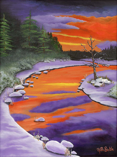 """Sunset On The River"" fine art print by Christine VanSickle."