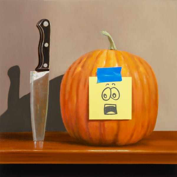 Pumpkin Panic | humorous, pumpkin carving drama | Richard Hall print
