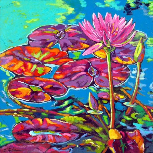 Purple Lily Pads Art | Sally C. Evans Fine Art