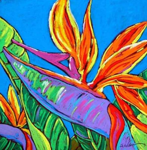 Bird Of Paradise Dances In Blue Art | Sally C. Evans Fine Art