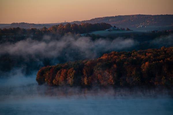 Foggy sunrise at Headache Hill at Prince Gallitzin State Park