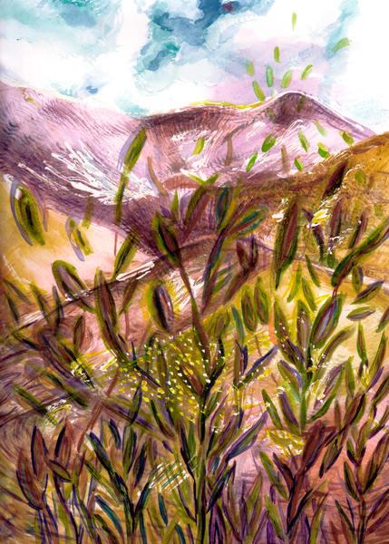 Purple Mountain Grass Art   Marisela Bracho