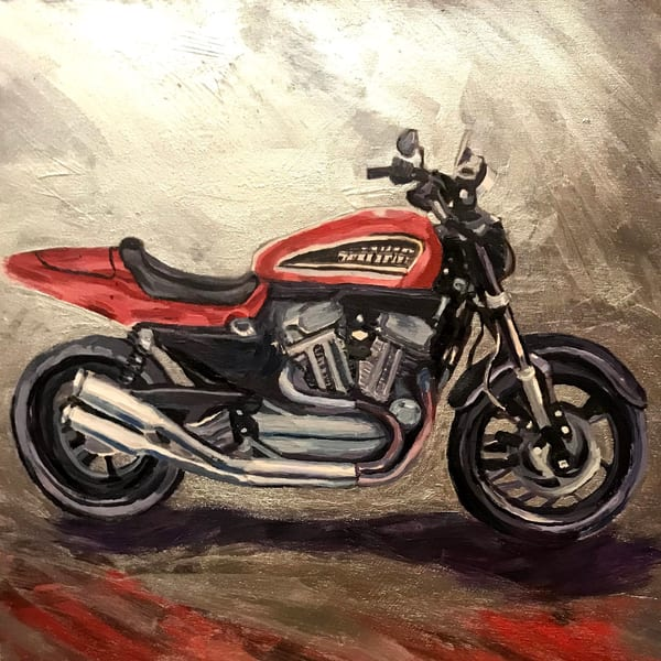 Harley art print in black, red and silver