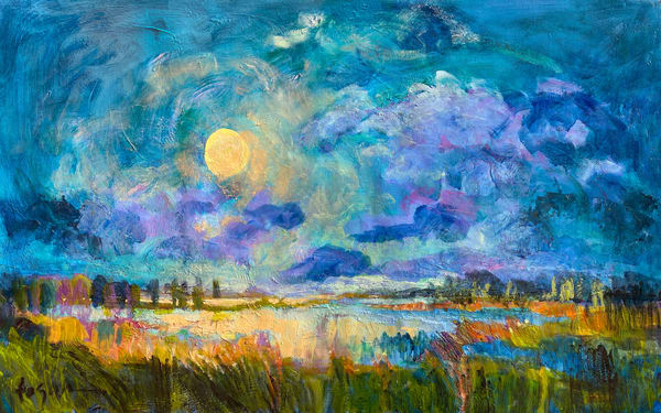 Moon Rising Original Oil Painting, Nocturne Art by Dorothy Fagan