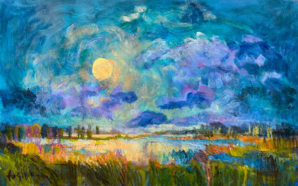 Oversize Moon Rise Painting, Canvas Art Print by Dorothy Fagan