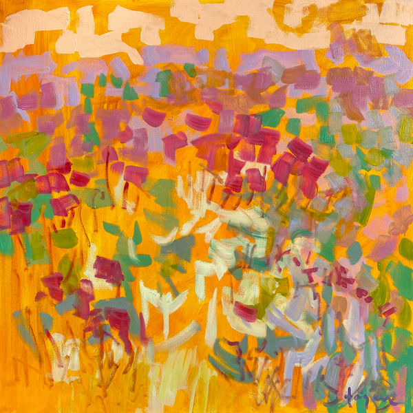Pink Yellow Abstract Painting, Canvas Wall Art by Dorothy Fagan