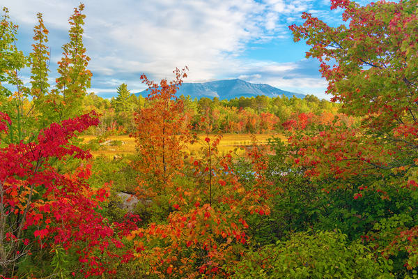 Mt Katahdin in Autumn from Compass Pond