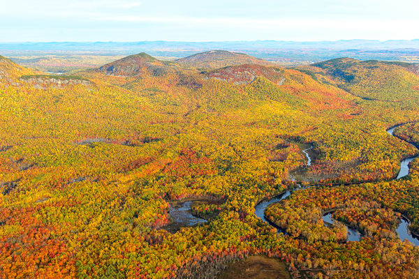 Northern section of Katahdin Woods and Waters National Monument in Autumn Arial