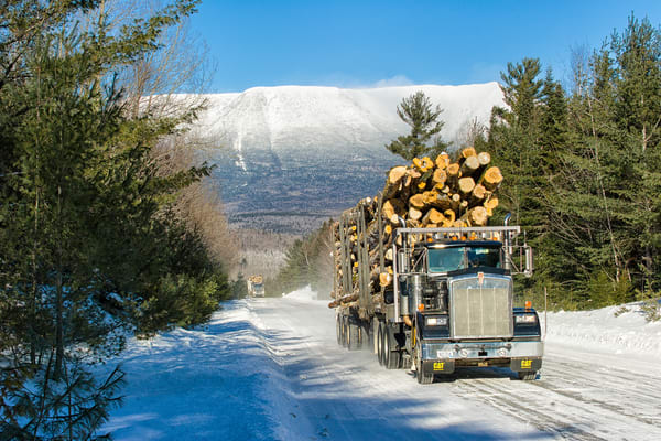 Two Logging Trucks Katahdin Winter