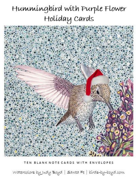 Hummingbird With Purple Flower Holiday Card Set | Birds by Boyd