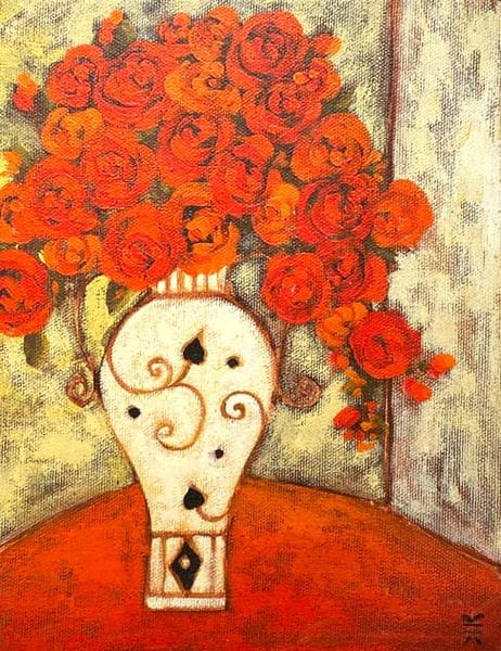 Roses With Viennese Vase Art | Fountainhead Gallery