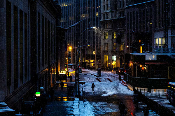 Night Snow On Broad Street Photography Art | LenaDi Photography LLC