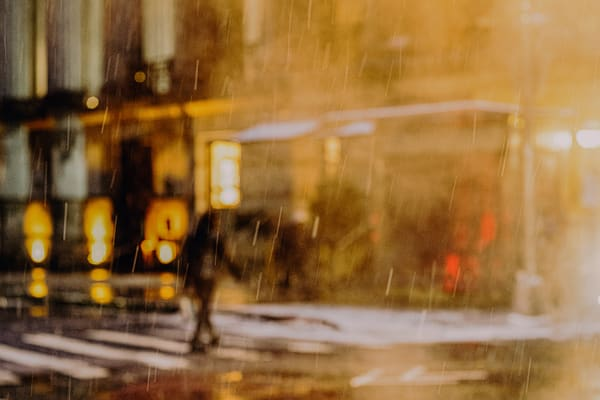 Man Crossing Wall St In Snow Photography Art | LenaDi Photography LLC