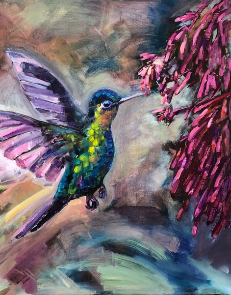 Inspiring oil painting of a hummingbird drinking nectar  by Monique Sarkessian.