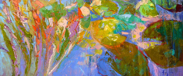 Oversize Waterlily Painting, Canvas Print by Dorothy Fagan