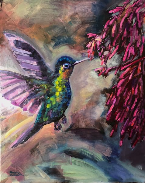 "by Monique Sarkessian .This is a high quality print of my original oil painting ""Glory Gatherers"" of a ruby throated hummingbird gathering nectar from fuschia trumpet flowers."