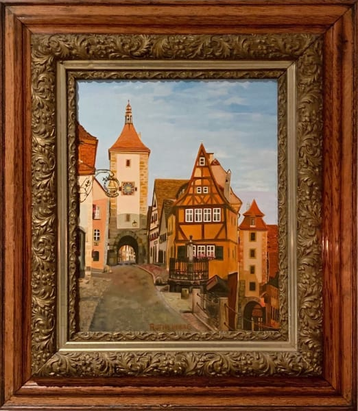 Rothenberg Bavaria Iconic Old Square Original Oil on Canvas Painting