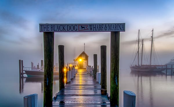 Black Dog Dock Foggy Morning Art | Michael Blanchard Inspirational Photography - Crossroads Gallery