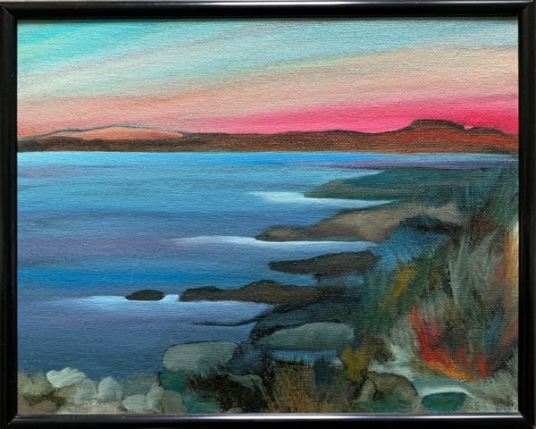 Coastal Sunset Original Oil over Monotype on Canvas Board Landscape/Seascape Painting
