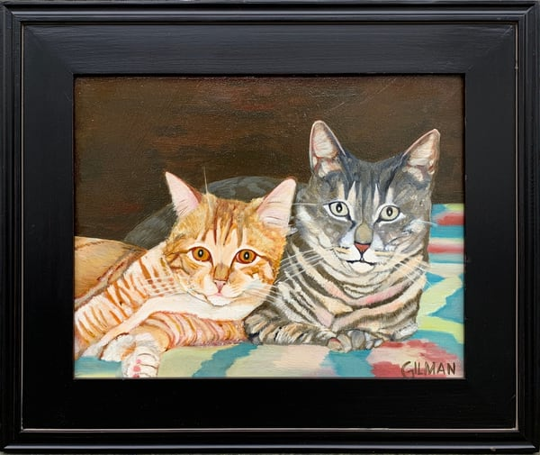 """Orange and Gray Tabbies"" Original Oil on Canvas Painting of Cats"