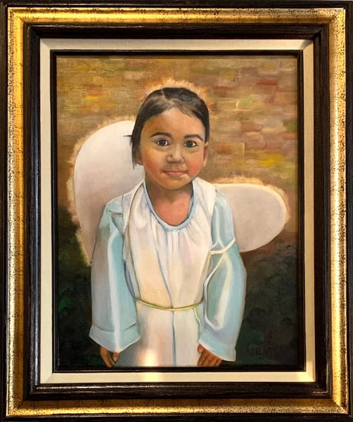 """Angel"" Portrait of a Young Girl Oil on Canvas Original Painting"