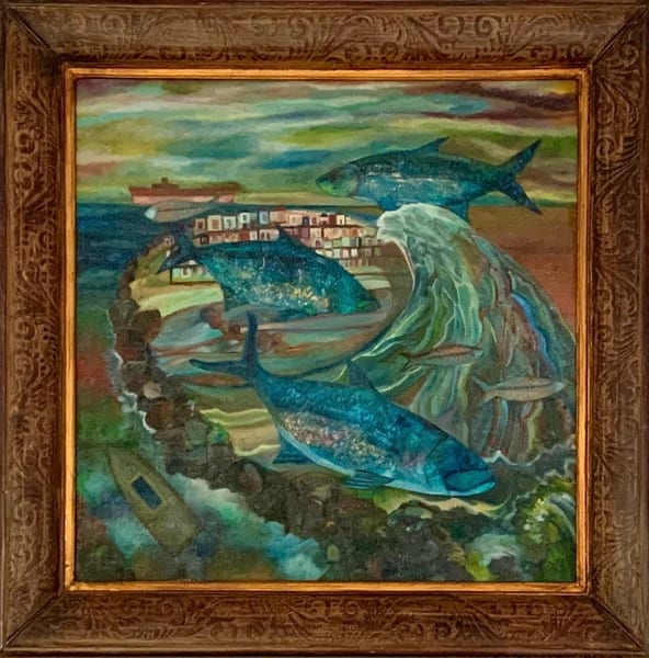 Ocean and Fish Dreamscape with Epic Wave Original Painting