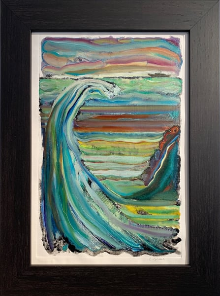 """Rising Sea Levels"" Oil over Monotype on Canvas Paper Original Painting"