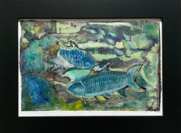 """""""Something Fishy"""" Oil on Monotype on Canvas Paper Original Mixed Media"""