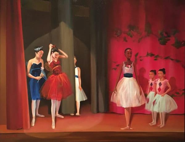Ballet Rehearsal with Young Dancers on Stage Original Oil on Canvas Painting