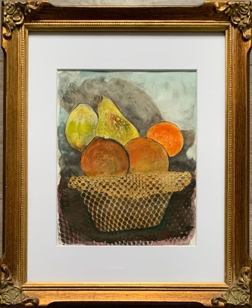 """Fruit Basket"" Original Mixed Media Monotype Work on Paper"