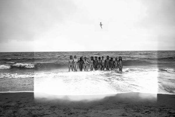 L1009981 2 Family Portrait In Water With Bird Bw Photography Art | LenaDi Photography LLC
