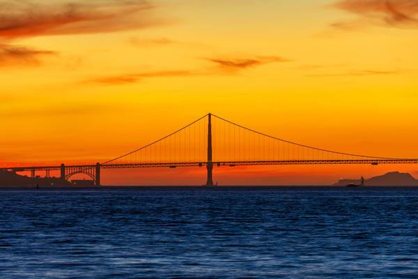 Golden Gate Bridge and a Golden Sunset - Golden Gate Photos
