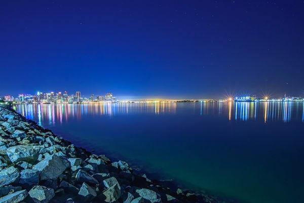 Harbor Island, San Diego Light Streak Wall Art Print by McClean Photography
