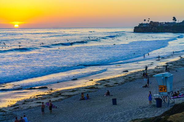 Northern Pacific Beach, San Diego Golden Sunset Fine Art Print Art | McClean Photography
