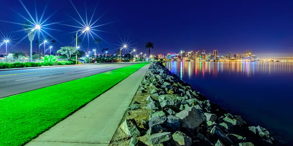 Harbor Island, San Diego Starry Night Wall Art Print by McClean Photography