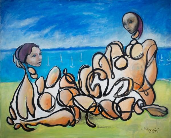 Two Women By Water Art | Sandy Garnett Studio