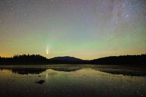 Neowise Comet, Big Dipper, Milky Way and Northern Lights Over Katahdin