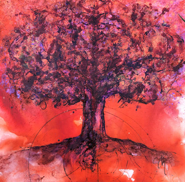 Orange Purple Shift Tree Original Painting Art | Christy! Studios