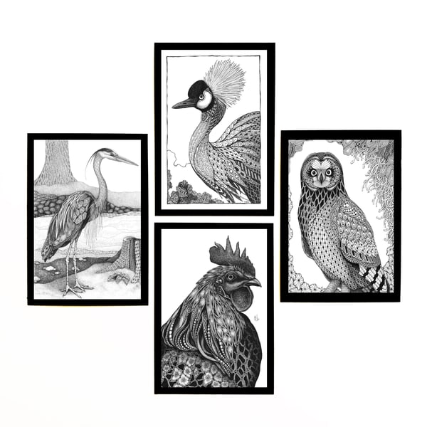"Bird Collection | Kristin Moger ""Seriously Fun Art"""