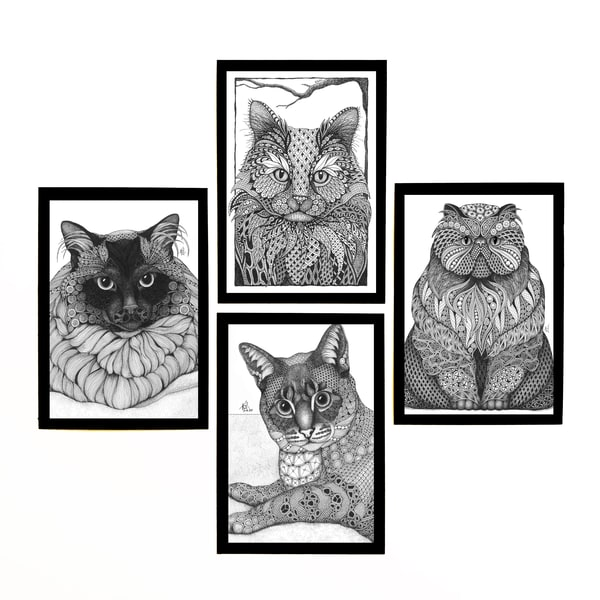 "Cat Collection | Kristin Moger ""Seriously Fun Art"""
