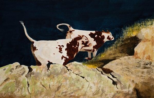 "Raymond Wattenhofer Original Art Watercolor ""High Tailin' It"""