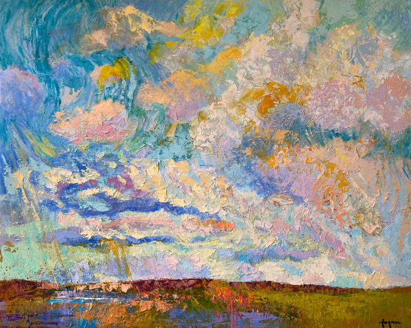 Earth Sky Clouds Painting, Oversize Canvas Print by Dorothy Fagan