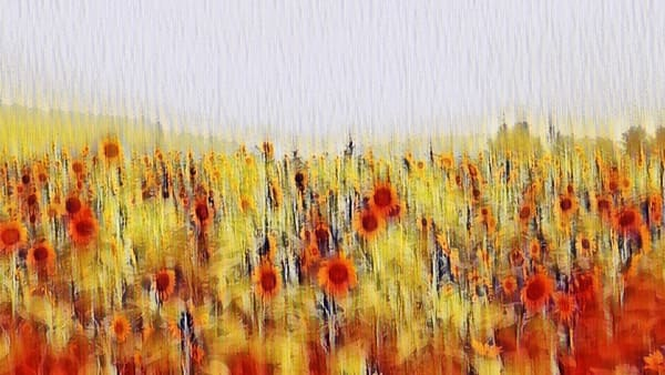 """""""Impressionistic Sunflower Field"""" Photography Art 