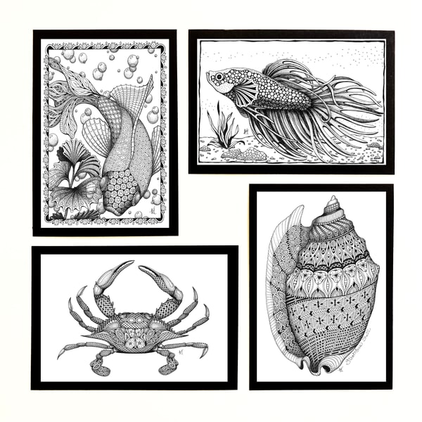 "Sea & Fish Collection | Kristin Moger ""Seriously Fun Art"""