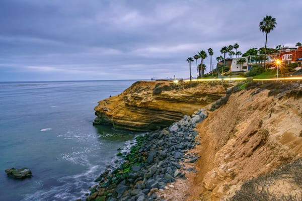Sunset Cliffs, San Diego Light Streak Wall Art Print by McClean Photography