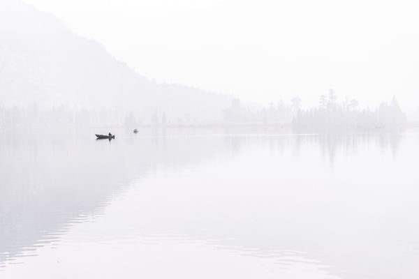 Silver Lake - Sunrise through a smokey haze in the Eastern Sierras, California photograph print