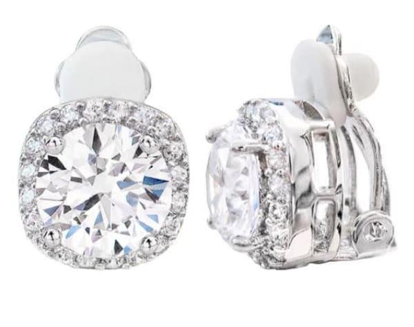 Silver 3 Carat Cushion Cut Clip Earrings