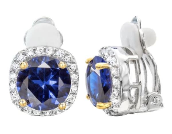 Silver 3 Carat Sapphire-Hued Cushion Cut Clips with 18 KGP Prongs