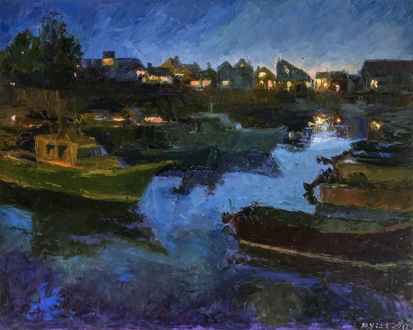 Twilight Rockport Harbor Art | capeanngiclee