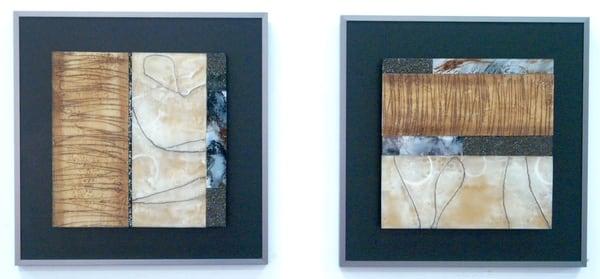 Encaustic Squares 1,2  (Originals) Art | Laurie Fields Studio
